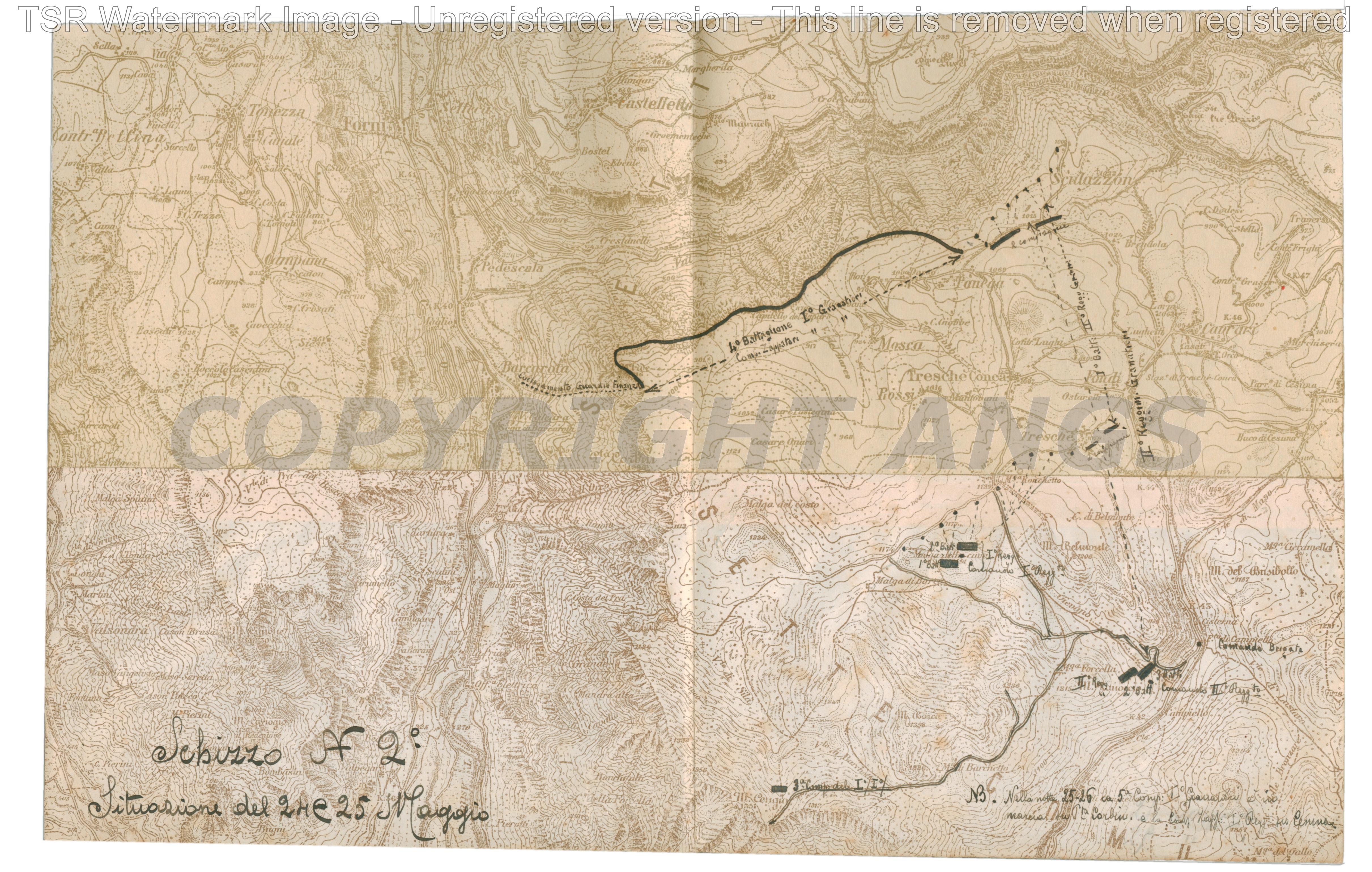 Schizzo n. 2 Situazione 24 e 25 maggio 1916