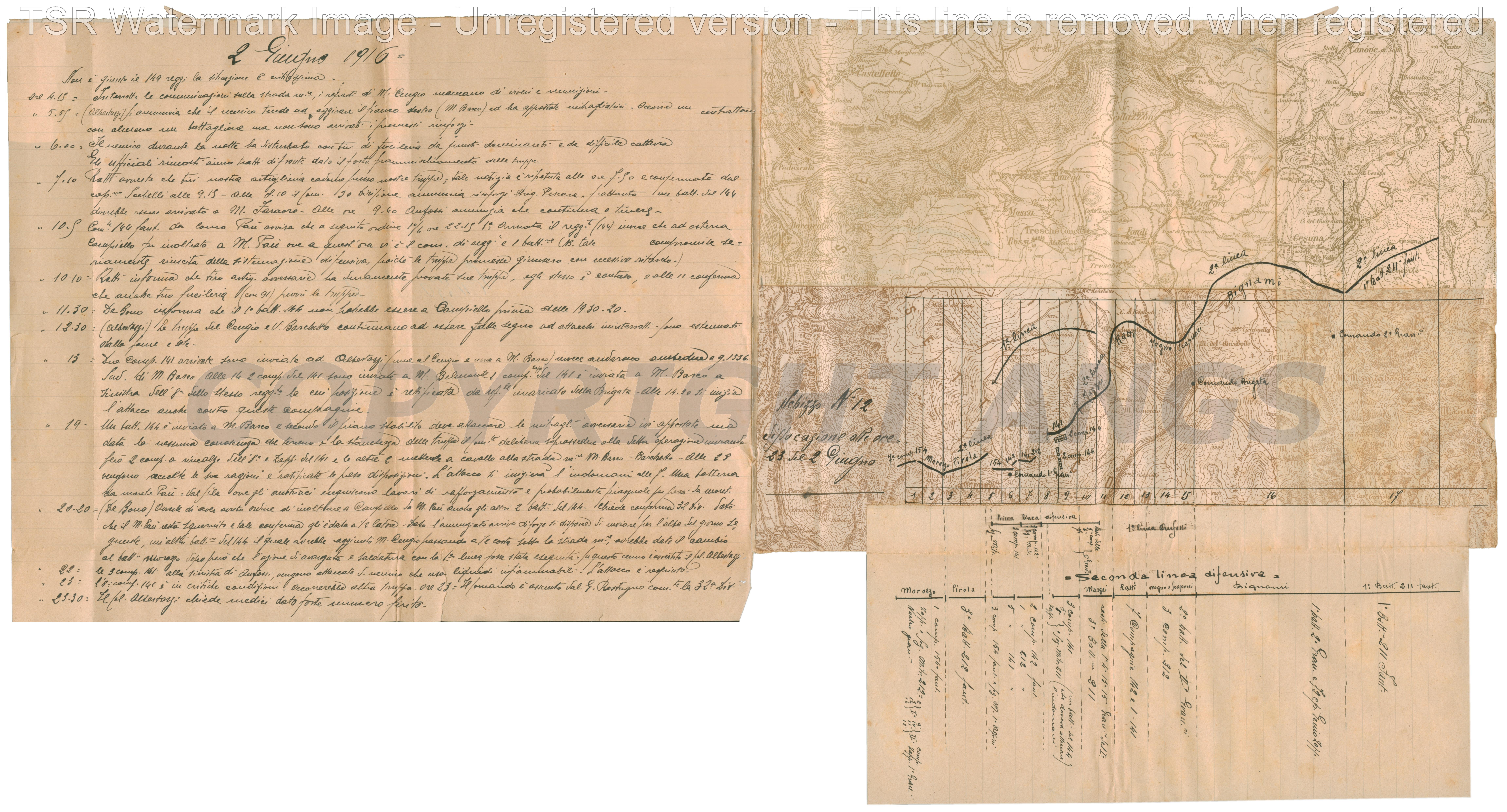 Schizzo n.12 Situazione alle ore 23 del 2 giugno 1916