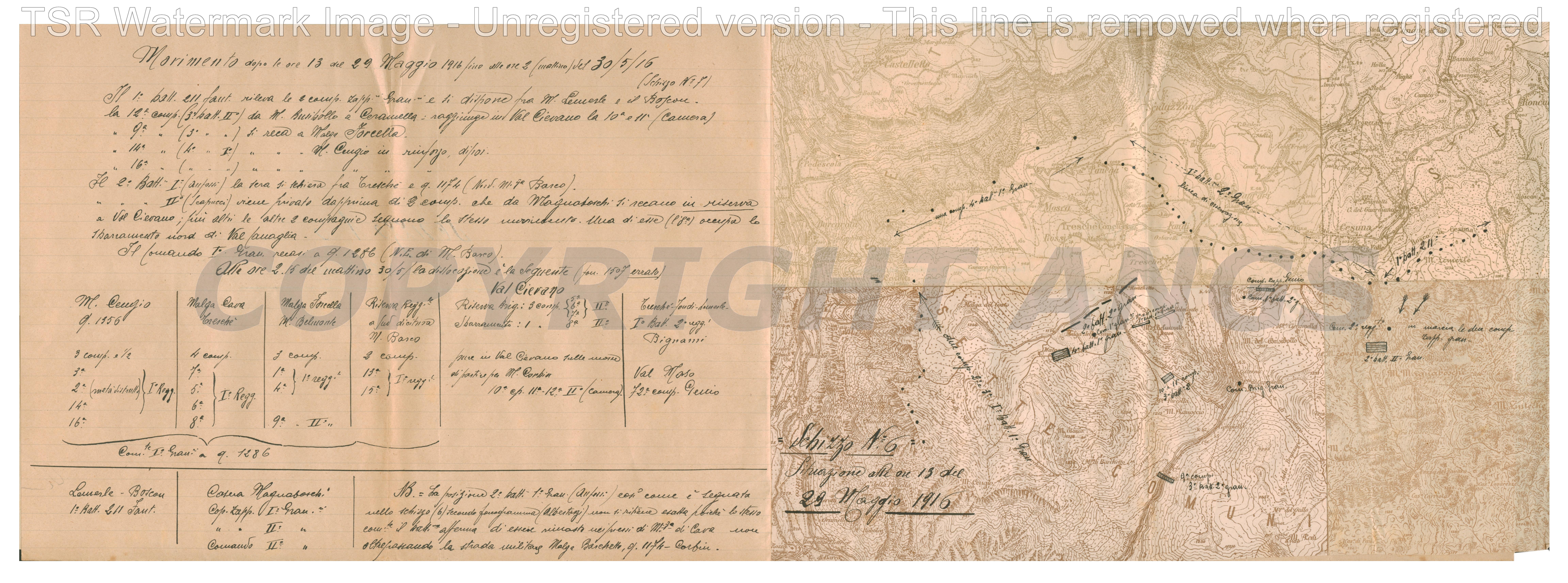 Situazione alle ore 19 del 29 maggio 1916
