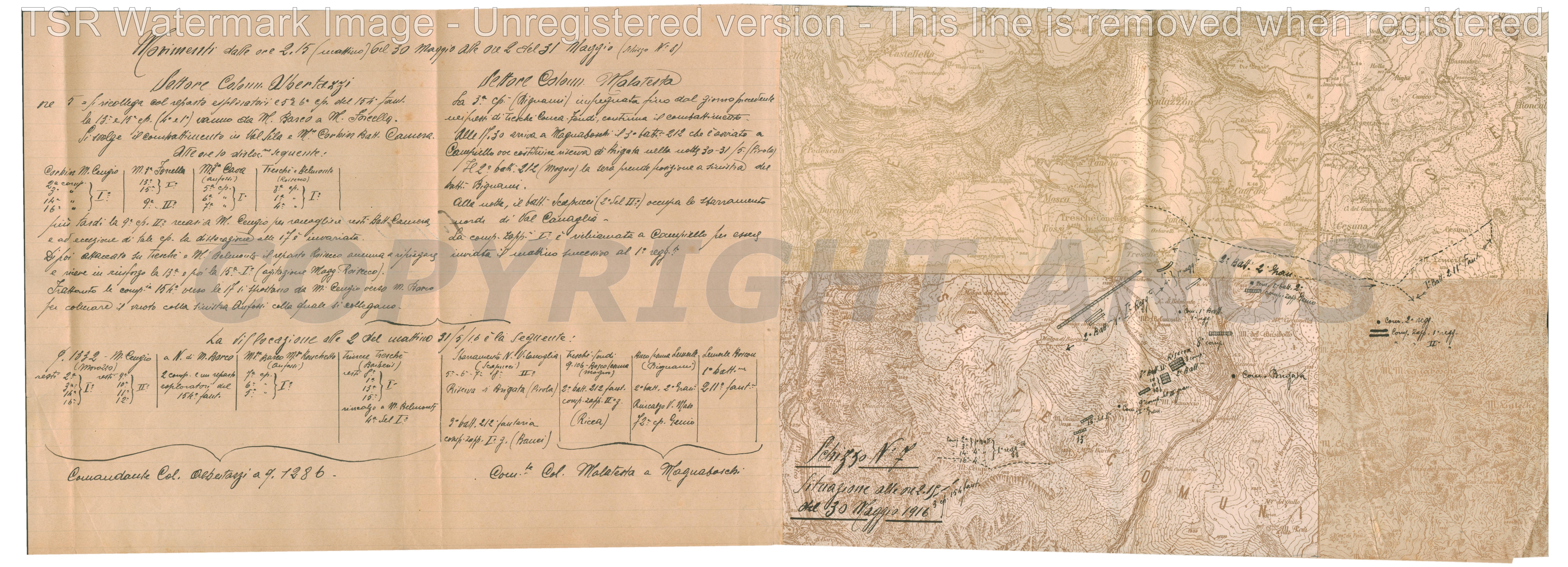 Situazione alle ore 2.19 del 29 maggio 1916
