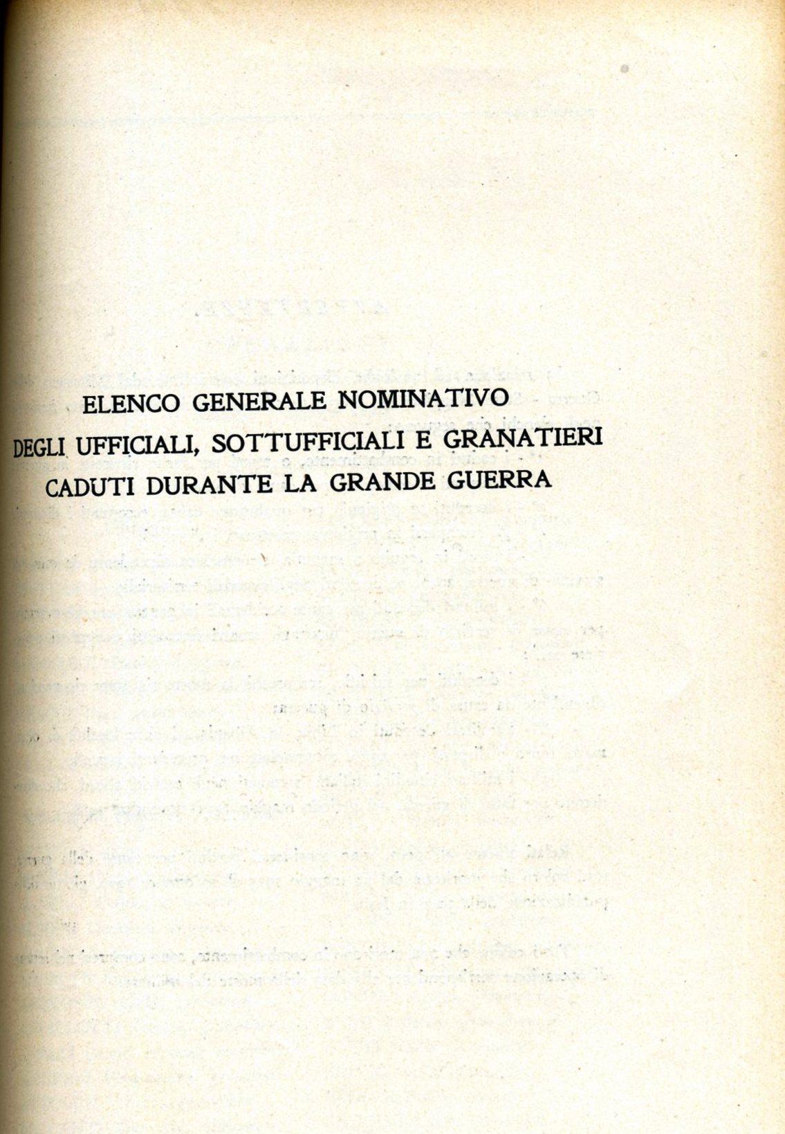 Elenco generale nominativo U., SU., Gra. Caduti nella Grande Guerra