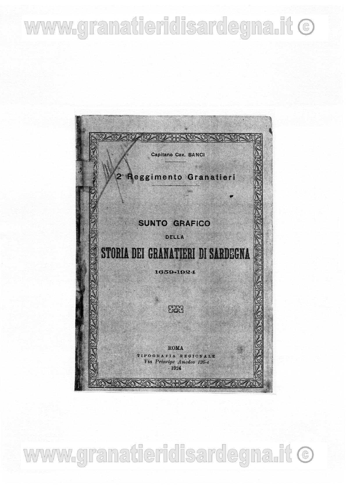 Sunto grafico della storia dei Granatieri di Sardegna 1659-1924