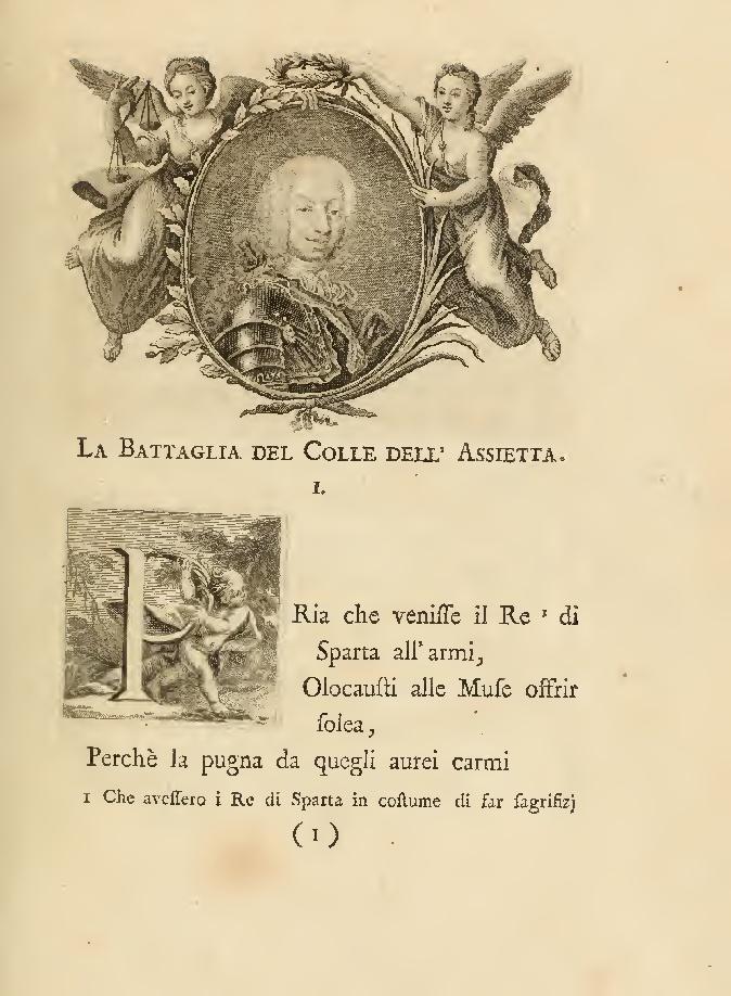 La Battaglia del  Colle dell'Assietta, seguita al XIX di luglio dell' anno MDCCXLVII. STANZE DI GIUSEPPE BARTOLI