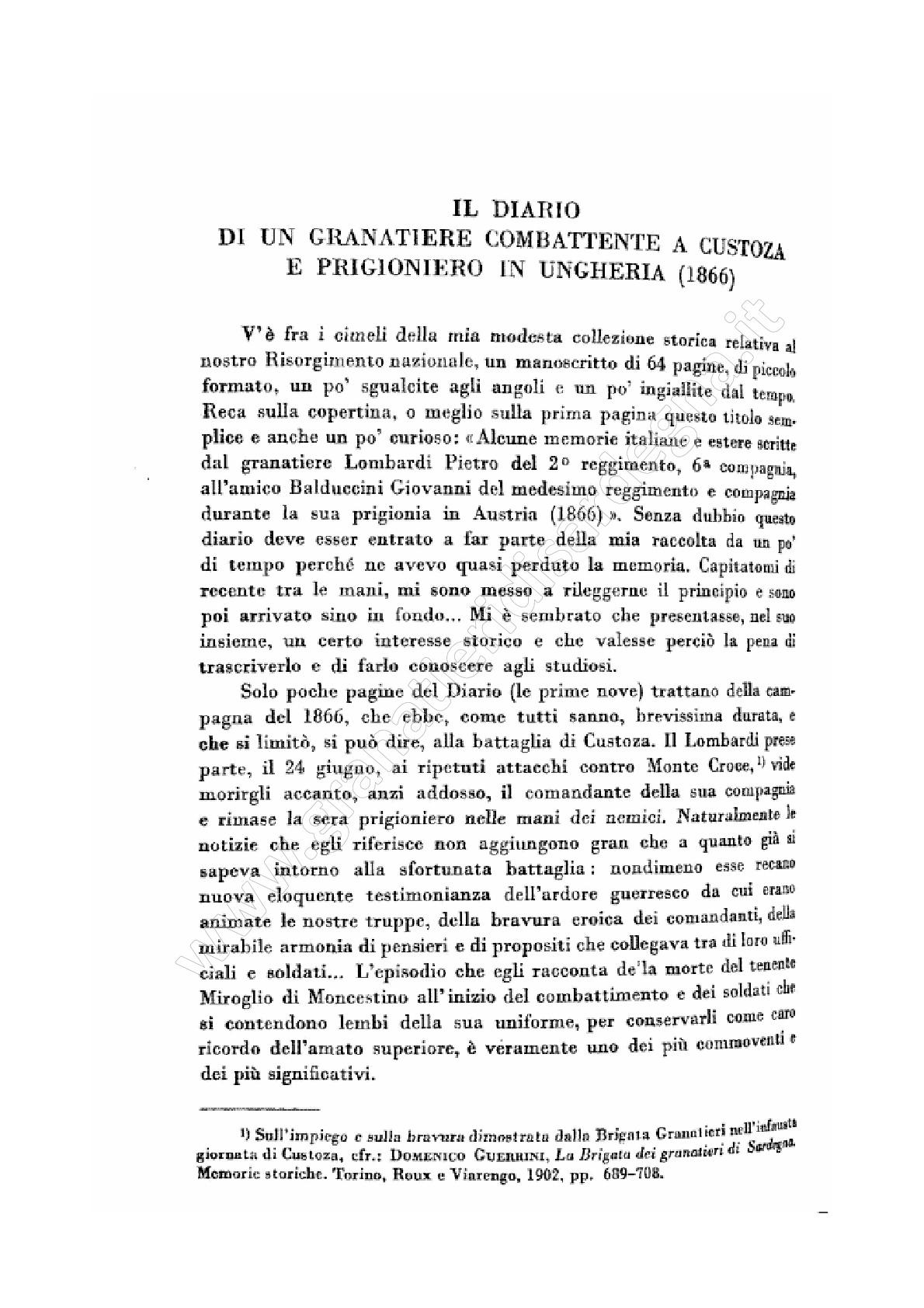 Il diario di un combattente a Custoza e prigioniero in Ungheria (1866)
