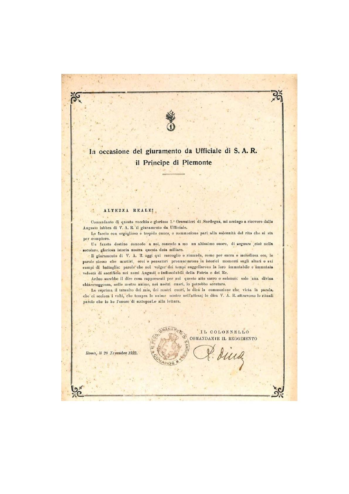La dedizione di UMBERTO II ai Reggimenti Granatieri