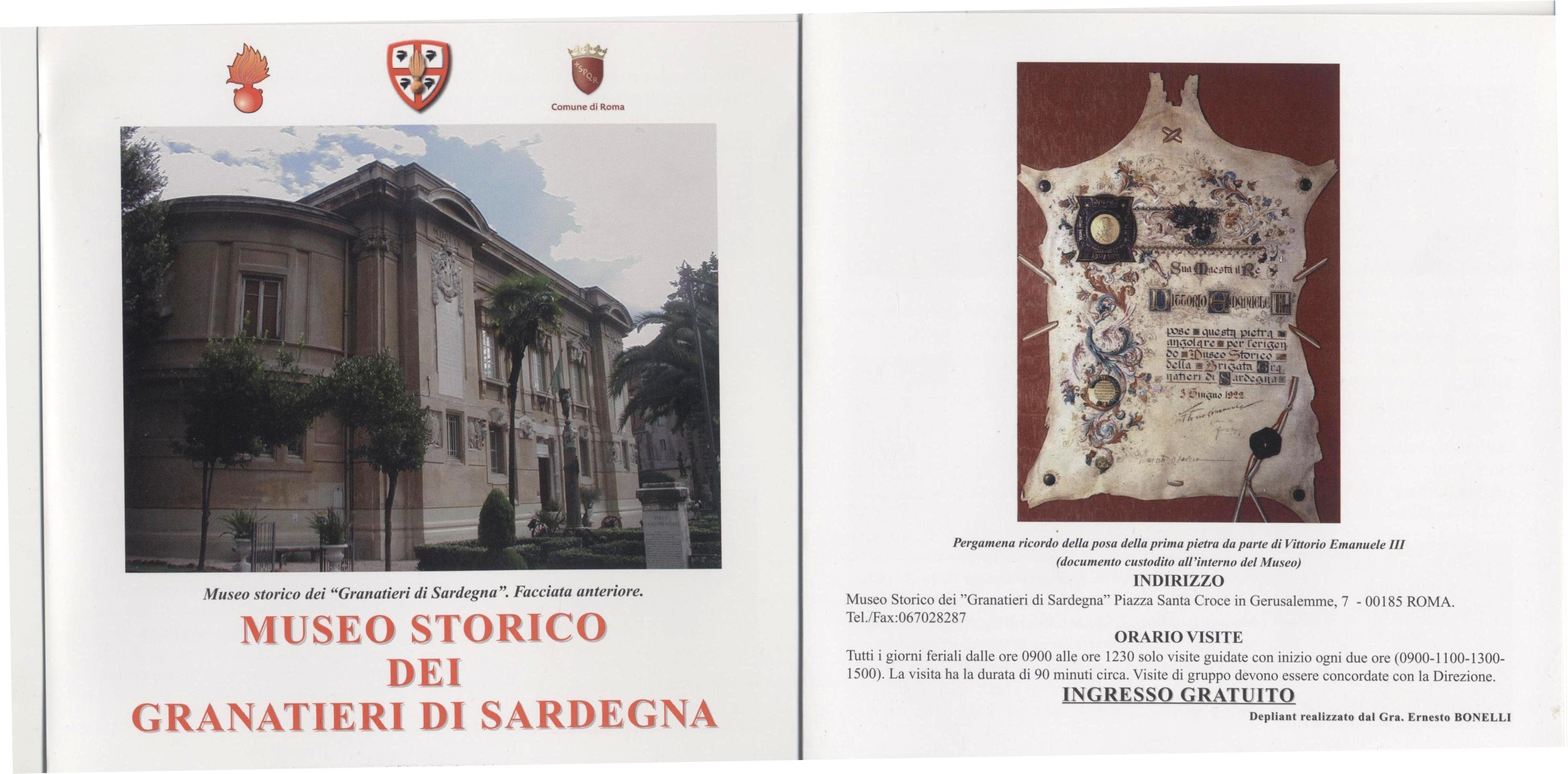 Locandina visita Museo Storico Granatieri di Sardegna -Parte 1^