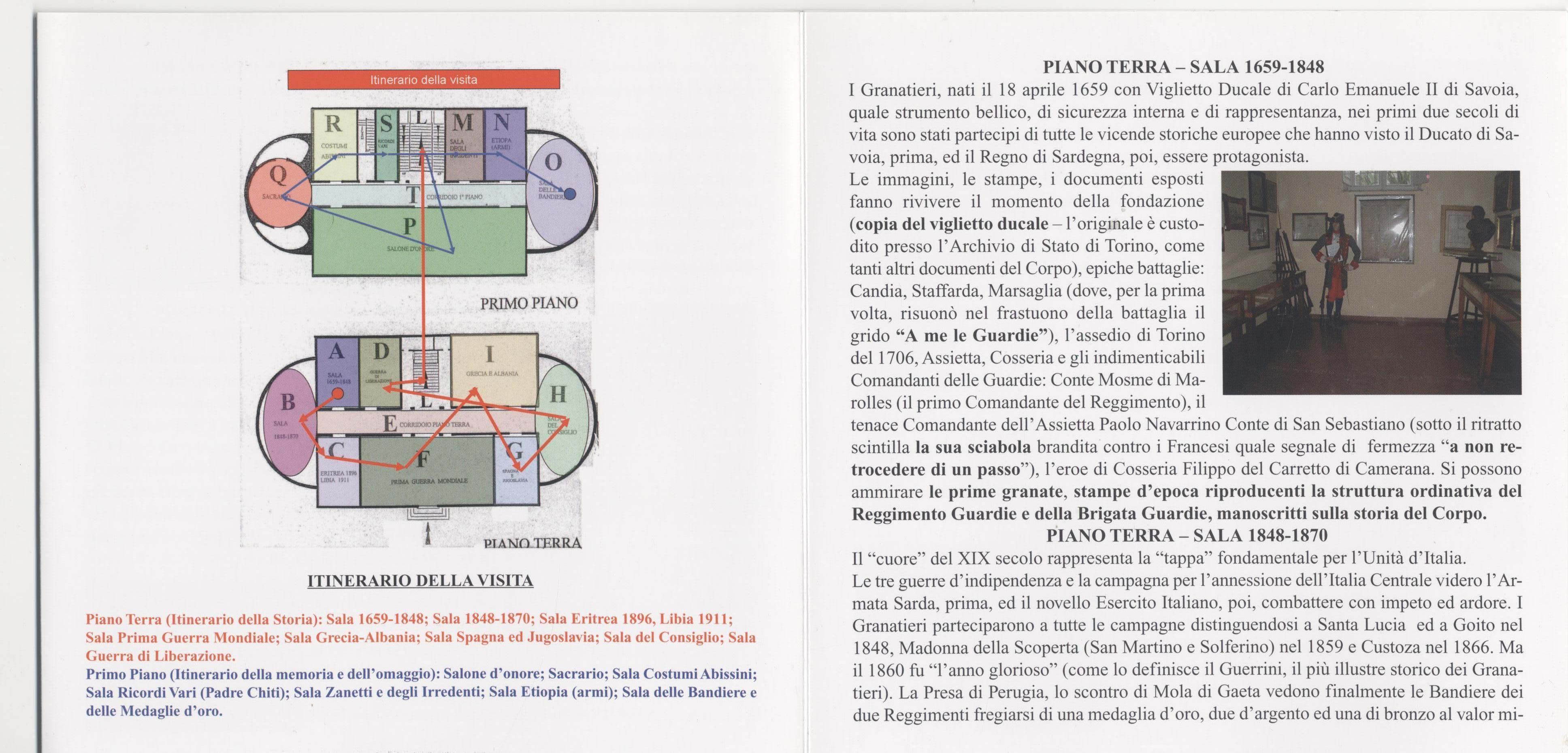 Locandina visita Museo Storico Granatieri di Sardegna -Parte 3^