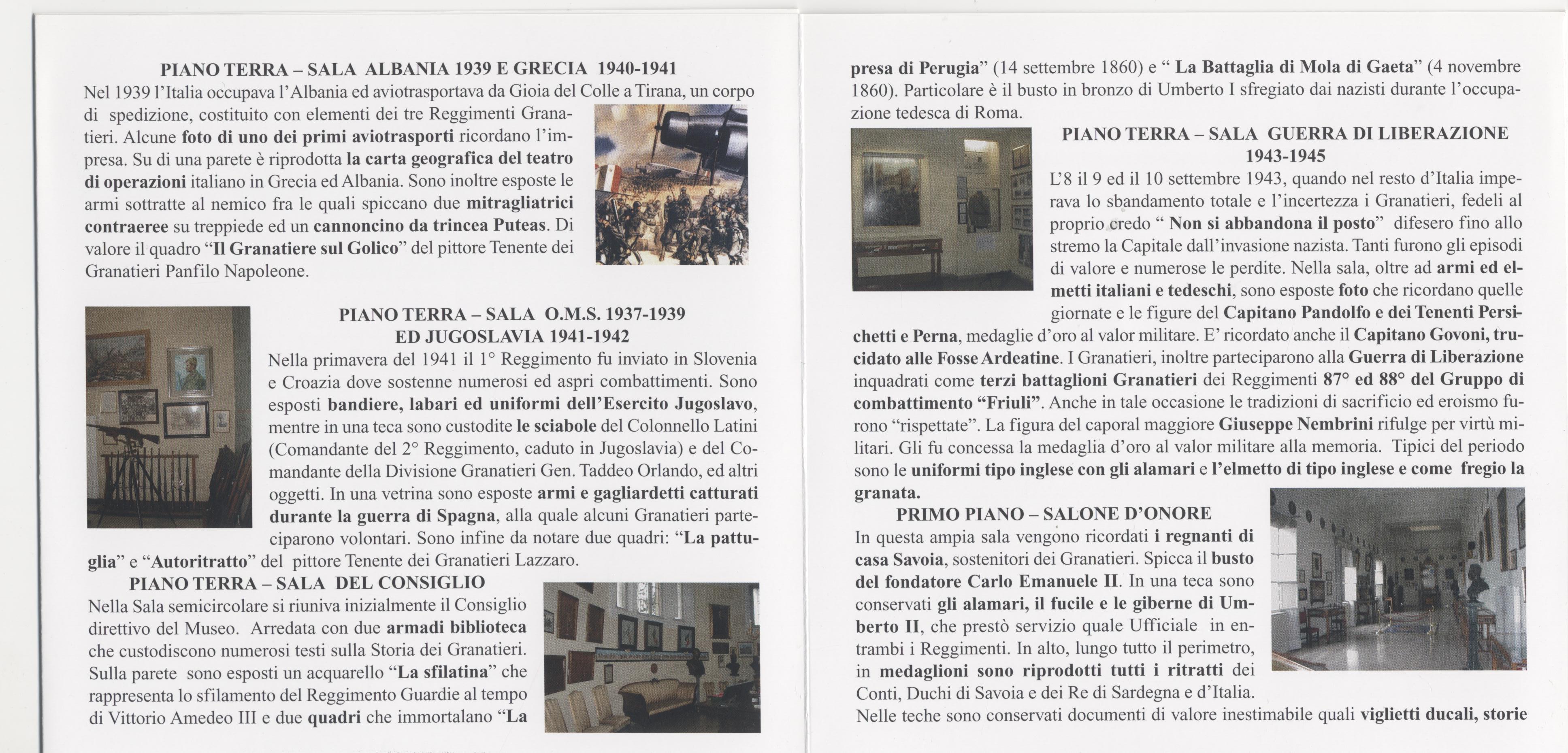Locandina visita Museo Storico Granatieri di Sardegna -Parte 5^