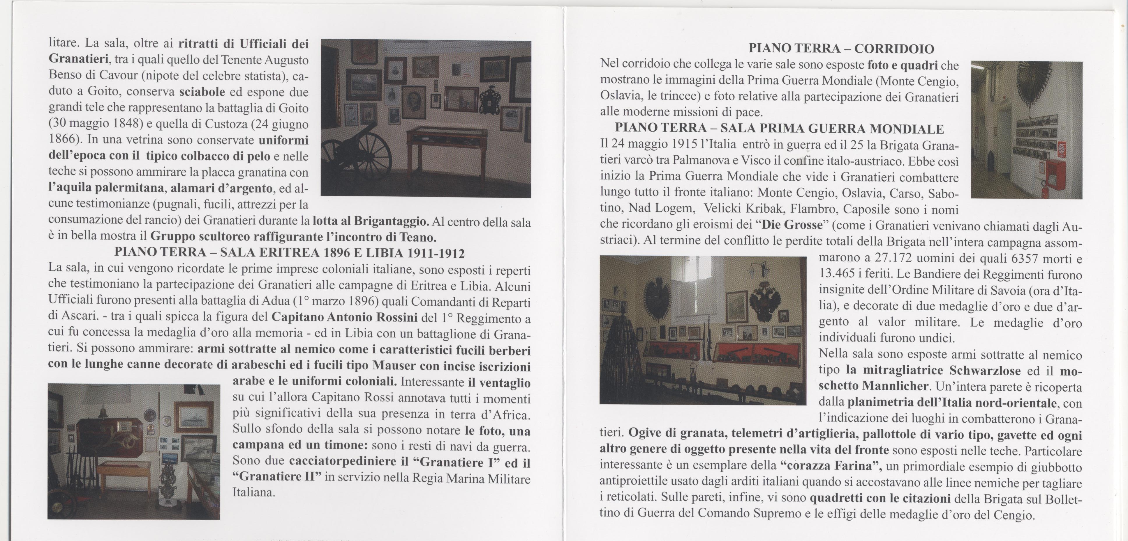Locandina visita Museo Storico Granatieri di Sardegna -Parte 6^
