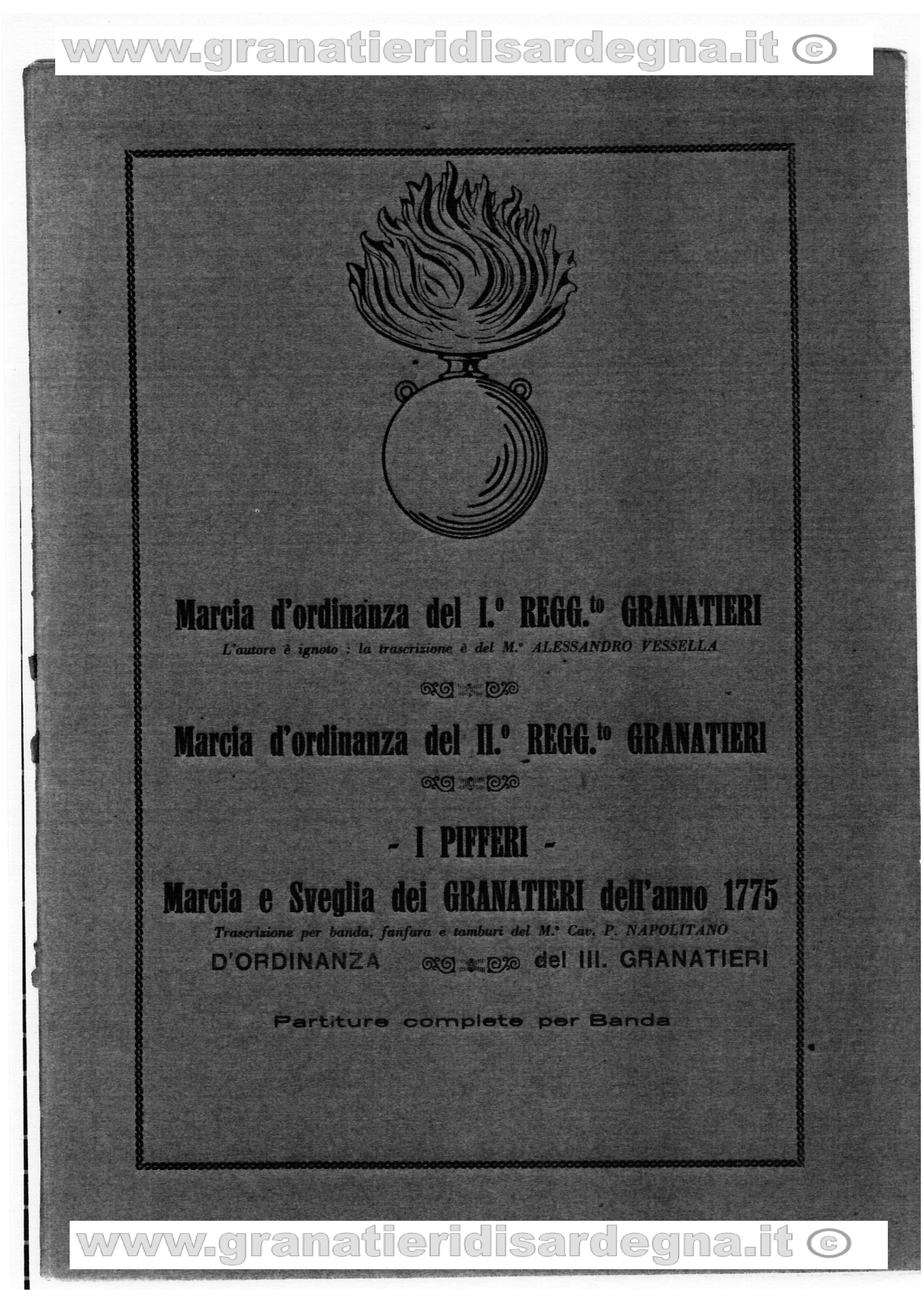 Musiche di ordinanza dei tre Reggimenti Granatieri di Sardegna
