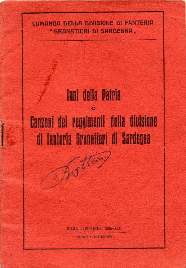 Inni della Patria Canzoni dei reggimenti della divisione di fanteria Granatieri di Sardegna
