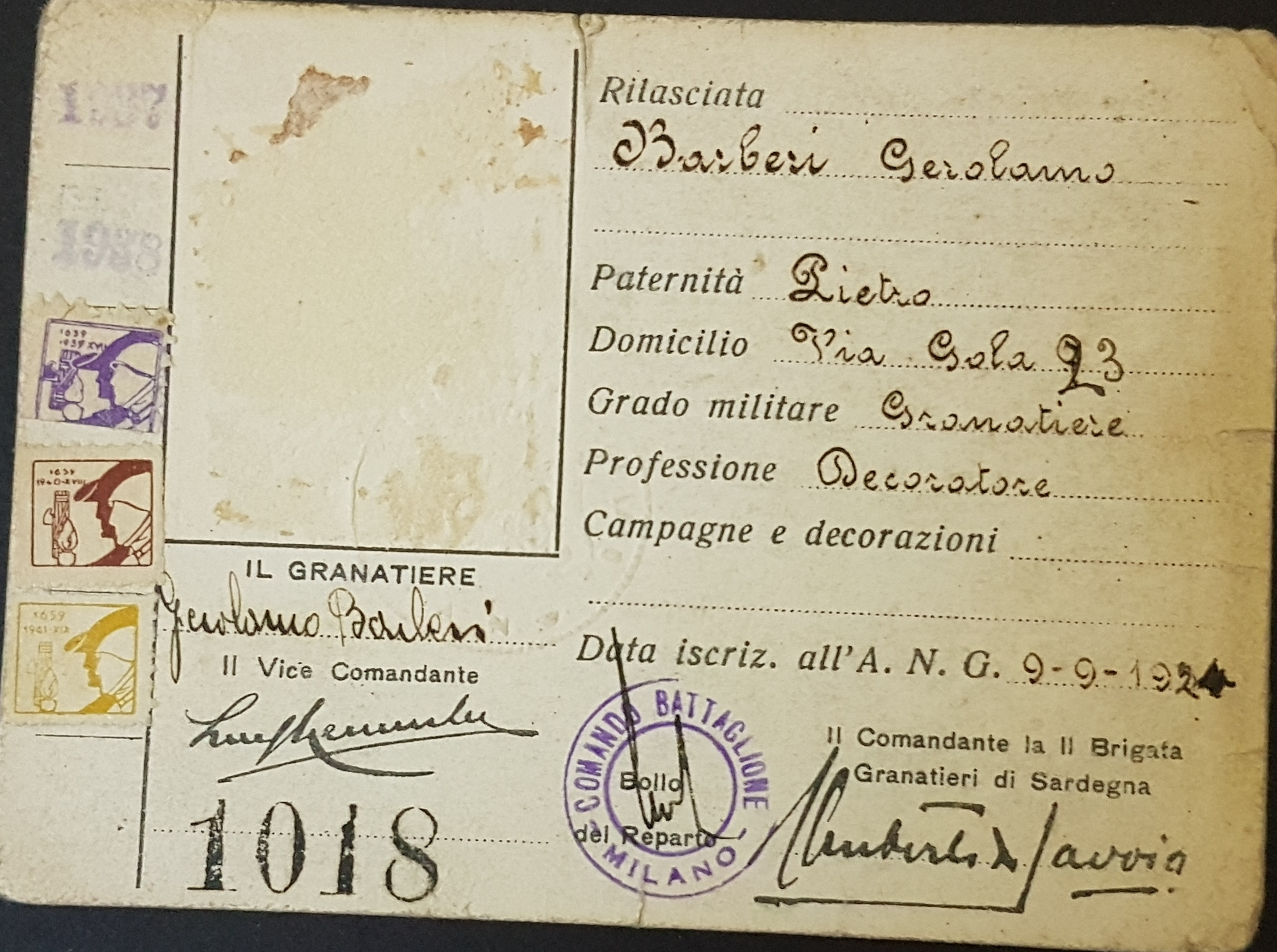 Tessera II Brigata Granatieri di Sardegna - 1924