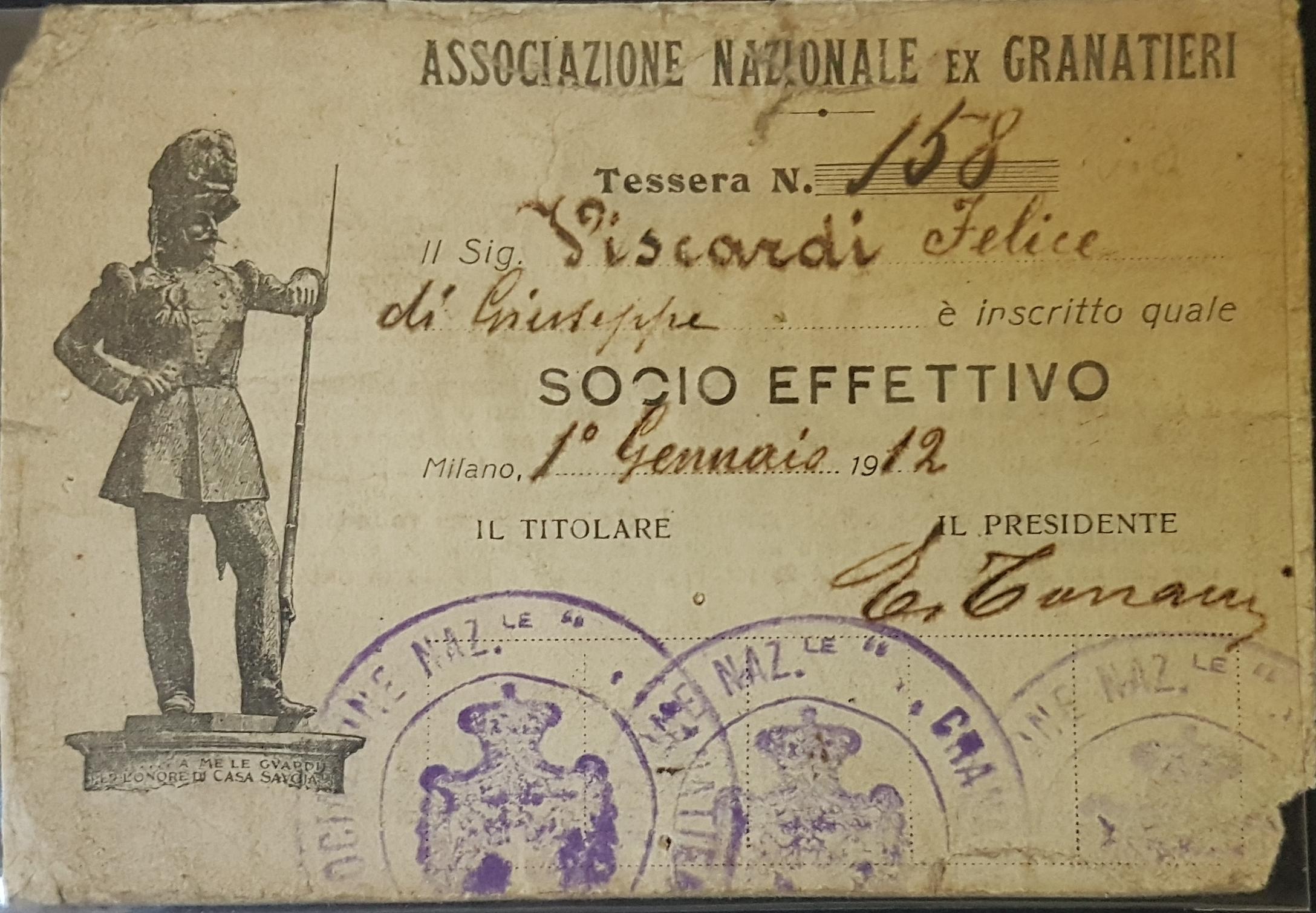 Tessera Associazione nazionale ex Granatieri 1912