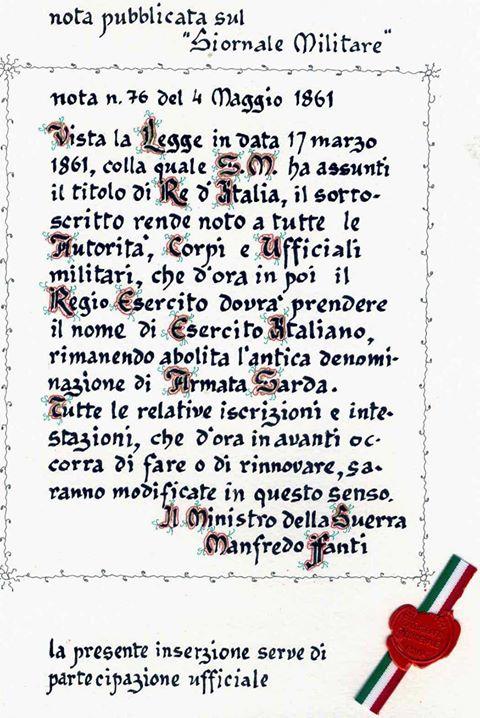 Atto costituzione Esercito Italiano 1861