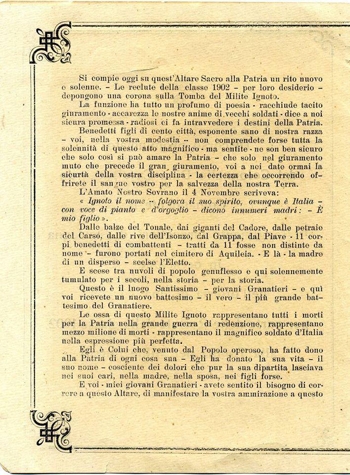 Discorso Comandante 1° Rgt. Granatieri di Sardegna 1902