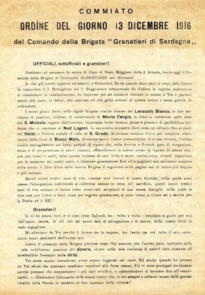 O.d.G. Cessione comando della Brigata del Gedn. Pennella