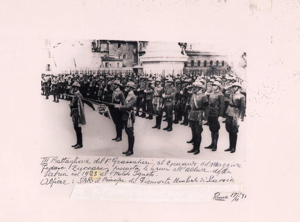 S.A.R. il Principe Umberto Alfiere Bandiera 2° Reggimento Granatieri di Sardegna- Milite Ignoto 1923
