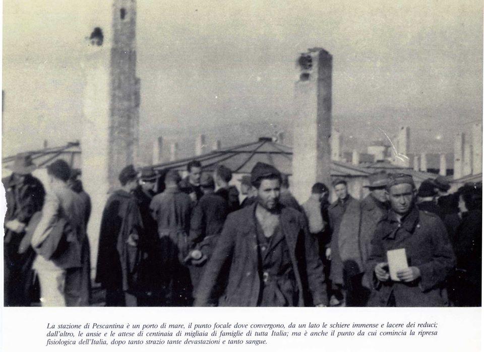 Stazione Pescantina rientro internati dalla Germania 1945