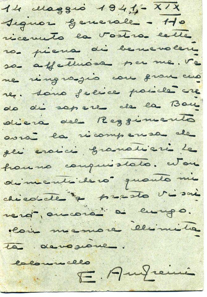 Lettera Col. ANDREINI