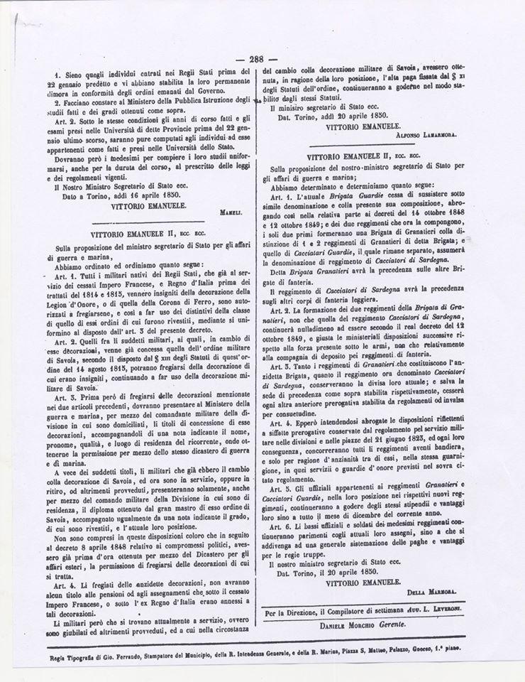 Decreto costituzione Brigata Granatieri 1850